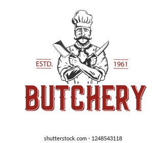 Butcher Shop vintage label.Vector illustration.