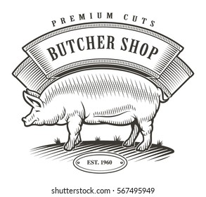 Butcher shop vintage logo. All elements - pig,flag,text on the separate layer.