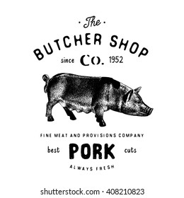 Butcher Shop vintage logotype pork meat products, butchery Logo template retro style. Vintage Design emblem for Logotype, Label, Badge and brand design. vector illustration isolated on white.