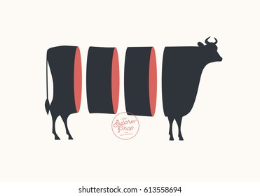 Butcher sign. Cuts of beef. Illustration for meat related theme.
