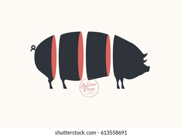 Butcher sign. Cuts of pork. Illustration for meat related theme.