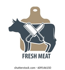 Butcher template logotype sign with cow and two crossed meat knives on cutting desk. Label with sharp elements for chopping beef. Logo for slaughterhouse or butchery animal shop vector illustration
