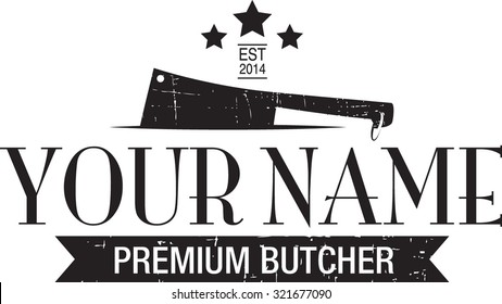Butcher's business logo icon with ribbon banner