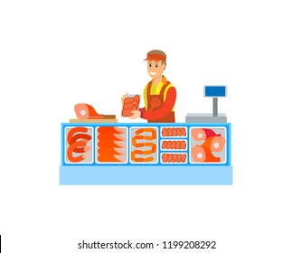 Butchers department in supermarket store vector. Salesperson consultant with sausages meat, pork and fat slices. Food and raw meal seller by counter