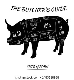 Butcher's guide set. Cuts of pork meat. Isolated on white background, eps 10