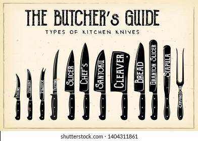The Butcher's Guide - Type of Knives vector retro illustration