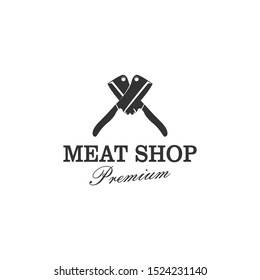 Butcher's logo or slaughterhouse logo with two large sharp knife elements.