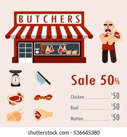 Butcher's Shop flat design / vector illustration