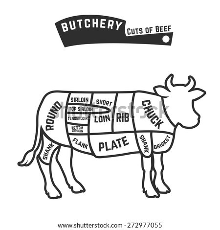 Butchery Beef Cuts Diagram Vector Illustration Stock Vector Royalty