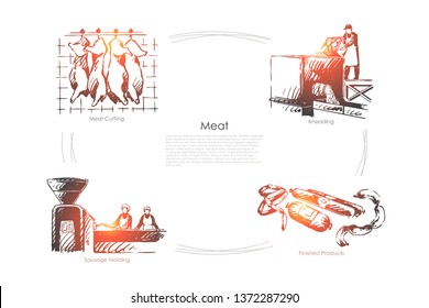 Butchery, ham cutting, kneading, sausage molding, stake making process, slaughterhouse, food shop banner. Butcher occupation, meat processing plant concept sketch. Hand drawn vector illustration