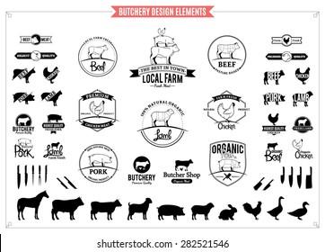 Butchery Logo, Labels, Charts and Design Elements