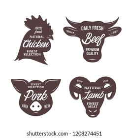 Butchery logo templates. Farm animal icons for groceries, meat stores, butcher's shops, packaging and advertising.