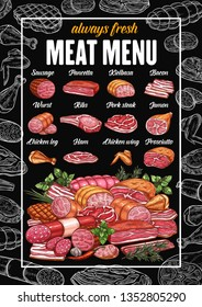 Butchery meat products and butcher shop sausages menu. Vector grocery store sketch pancetta, kielbasa or pork bacon and wurst, ham or chicken wing and leg, ribs, prosciutto and jamon with beef steak