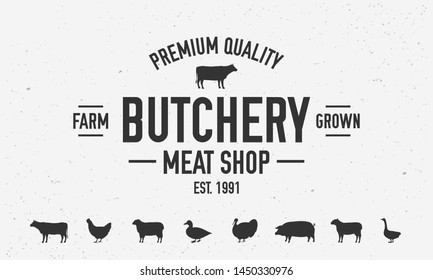 Butchery or meat shop vintage logo template. Set of 7 farm animals icons. BBQ poster with cow silhouette. Vector illustration
