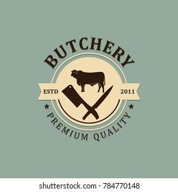 butchery premium quality vintage logo