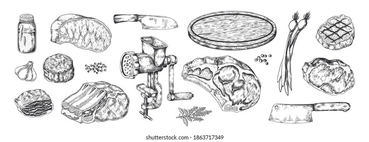 Butchery products sketch. Realistic hand drawn meat steak. Household cooking tools. Cutting board or knifes and grinder. Isolated aromatic herbs and spices. Vector flat pencil detailed illustration