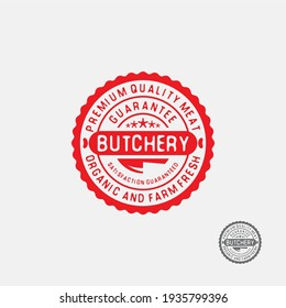 Butchery round Stamp label. Premium quality meat sign.