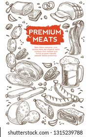 Butchery shop meat and beer in mug beef and pork vector sketch ham and salami bacon and sausage frankfurter and pretzel garlic and pistachio nut alcohol beverage snack slices or pieces organic product