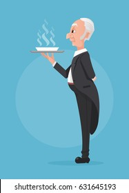 Butler in black tuxedo holding tray with soup dish. Vector flat cartoon illustration
