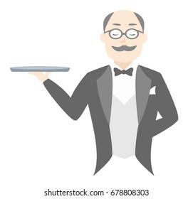 Un mayordomo sostiene una bandeja