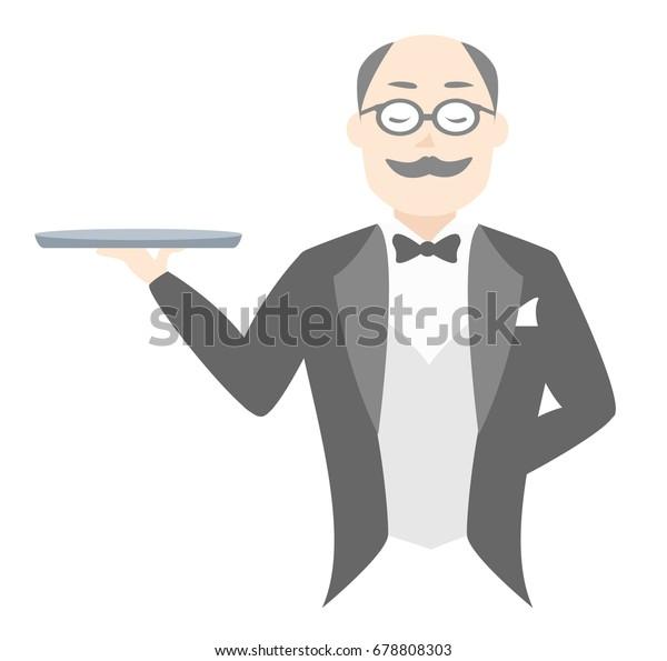 A butler holding a tray