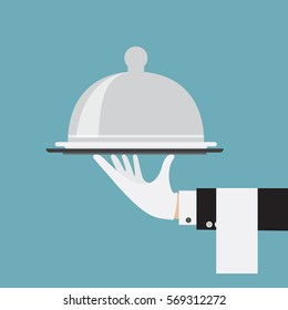 butler service waiter hand serving food concept illustration flat vector stock