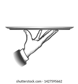 Butler serving tray. Service waiter hand hold dish for food or tray for catering services in sketching style, restaurant butler serve platter isolated vector