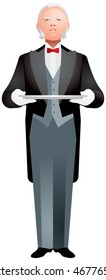 Butler Wearing Tuxedo Holding Silver Tray with White Gloved Hands realistic vector illustration