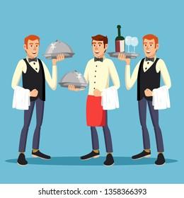 Butler Worker Vector. Man Butler Person In Uniform With Dish. Dinner On Restaurant. Illustration