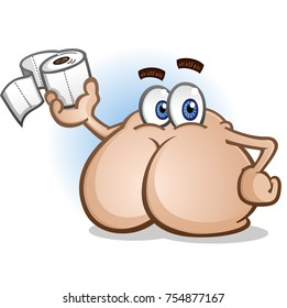 Butt Cartoon Character Holding Toilet Paper