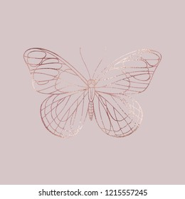 Buttefly. Rose gold texture. Elegant vector stock illustration