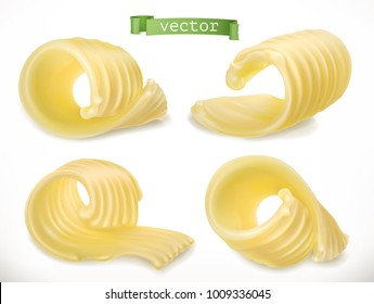 Butter. Curl. 3d realistic vector icon