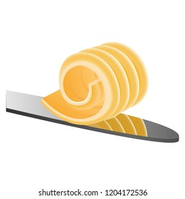 Butter curl on knife icon. Realistic illustration of butter curl on knife vector icon for web design