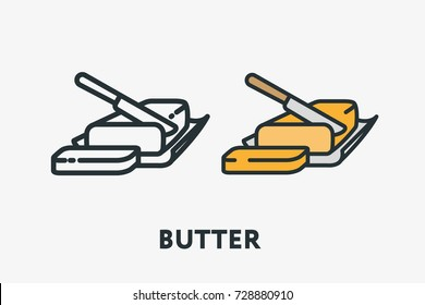 Butter Margarine Pack Bar Fat Slice Knife Minimal Flat Line Outline Colorful and Stroke Icon Pictogram