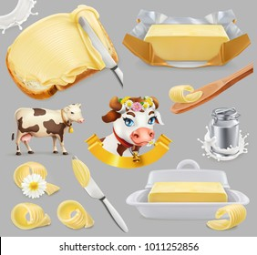 Butter. Milk farm. 3d realistic vector icon set