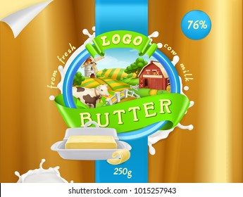 Butter, milk farm. 3d realistic vector, package design