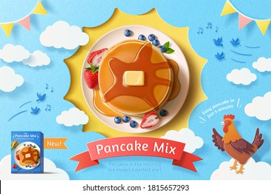 Butter pancake stack with fresh fruit on blue sky background, concept of healthy breakfast, 3d illustration