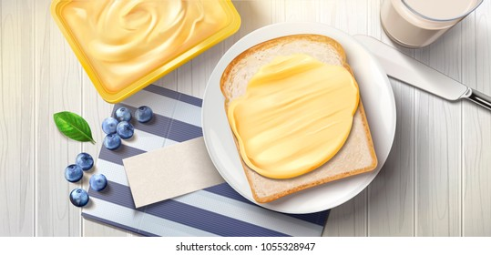 Butter spreading on bread, delicious breakfast with butter toast and milk in 3d illustration, top view