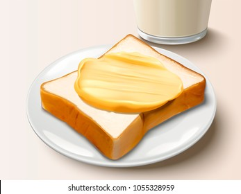 Butter spreading on bread, delicious breakfast with butter toast and milk in 3d illustration