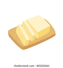 Butter stick. Sliced Margarine block on a cutting board. Baking ingredient vector illustration. Food for breakfast