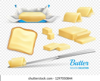 Butter sticks and slices realistic set isolated on transparent background vector illustration