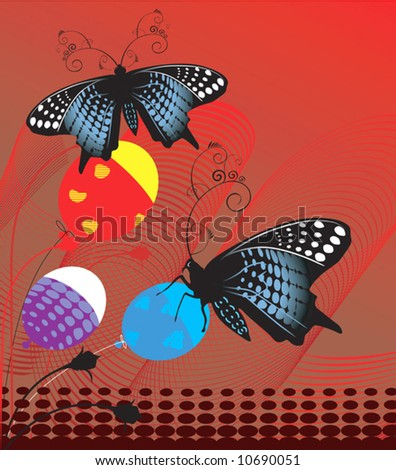 Butterflies Balloons Colorful Background Stock Image