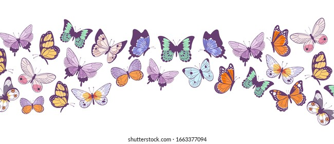 Butterflies banner flying beautiful spring and summer insects vector cartoon illustration. Butterflies isolated on white background.