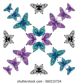 Butterflies in blues and purples and black outline