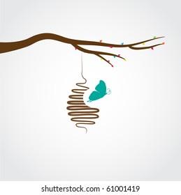Butterflies cocoon, vector illustration