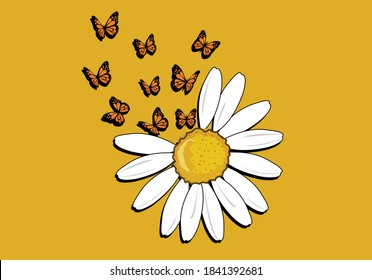 butterflies and daisies positive quote flower design margarita  mariposa stationery,mug,t shirt,phone case fashion slogan  style spring summer sticker and etc fashion design