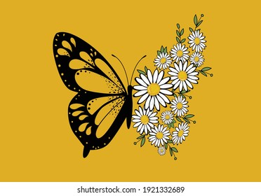 butterflies and daisies positive quote flower design margarita  mariposa stationery,mug,t shirt,phone case fashion slogan  style spring summer sticker and etc fashion design Swallowtail Metamorphosis