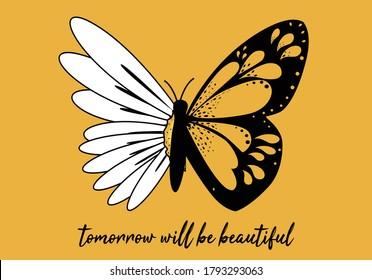 butterflies and daisy  positive quote flower design margarita  mariposa stationery,mug,t shirt,phone case fashion slogan  style spring summer sticker and etc fashion design Swallowtail Metamorphosis