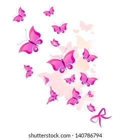 butterflies design,pink background