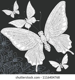 Butterflies drawn in line art style. Floral background in black and white colors on chalkboard. Coloring book. Coloring page. Zentangle vector illustration.